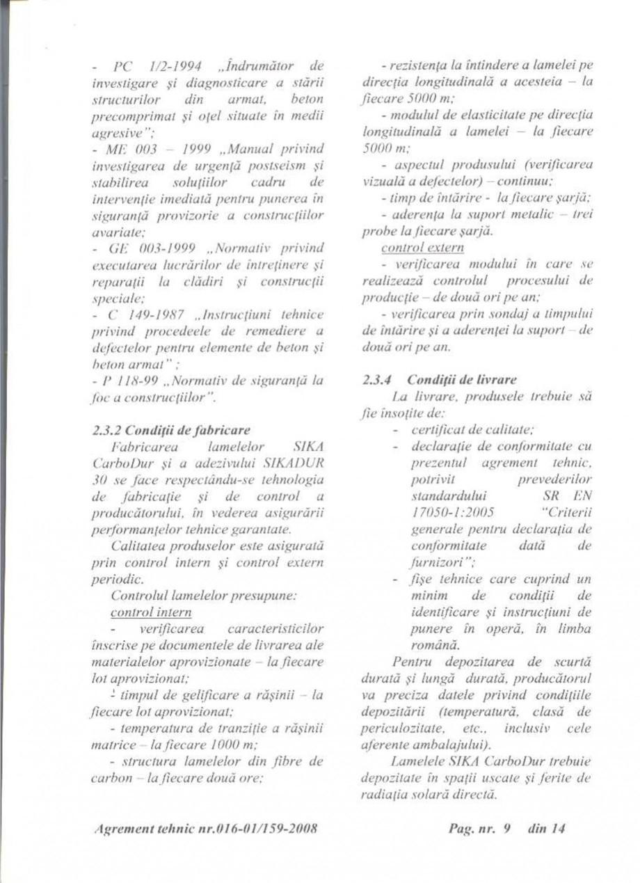 Pagina 10 - Agrement tehnic SIKA Sika® CarboDur® Certificare produs Romana