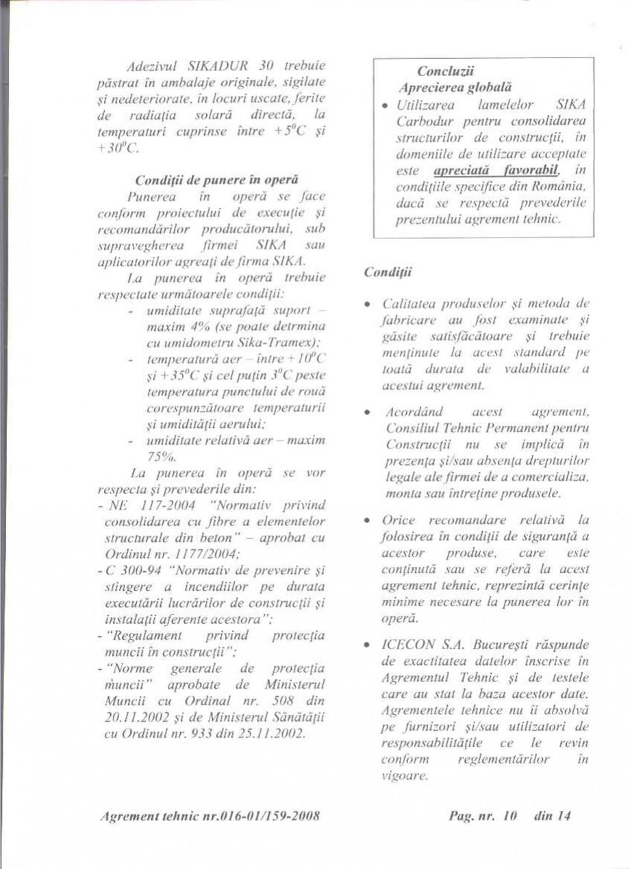Pagina 11 - Agrement tehnic SIKA Sika® CarboDur® Certificare produs Romana