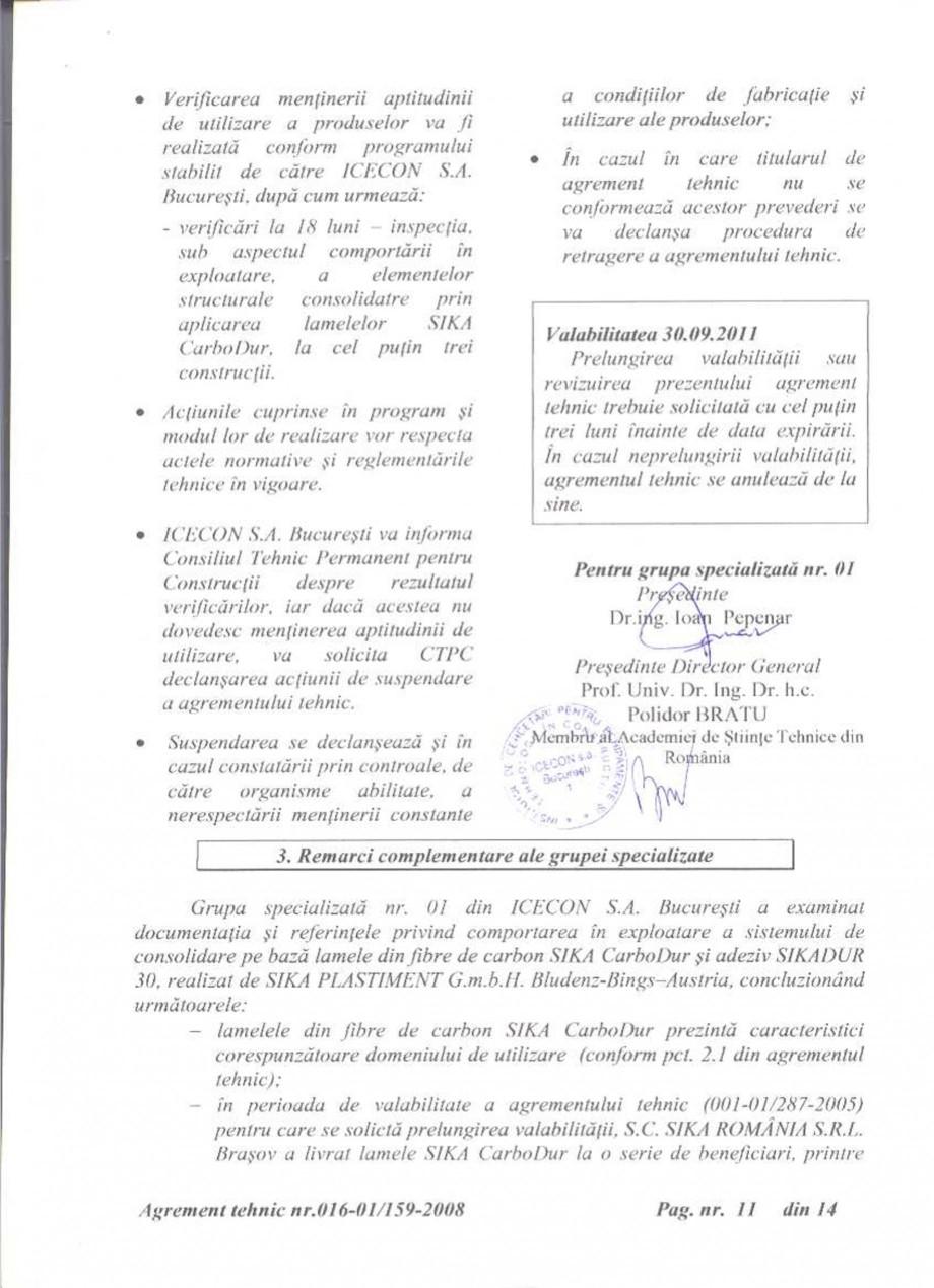 Pagina 12 - Agrement tehnic SIKA Sika® CarboDur® Certificare produs Romana