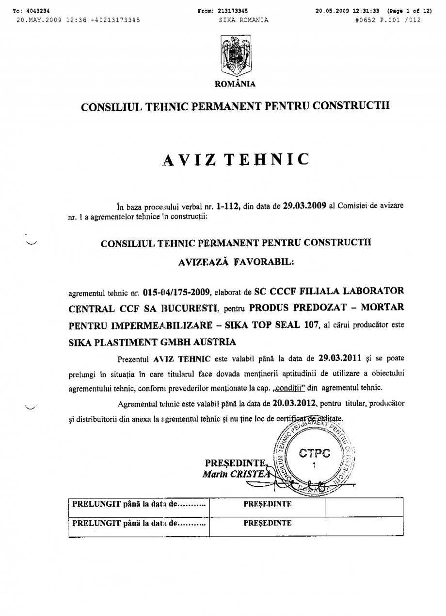 Pagina 1 - Agrement tehnic SIKA SikaTop®Seal-107 Certificare produs Romana