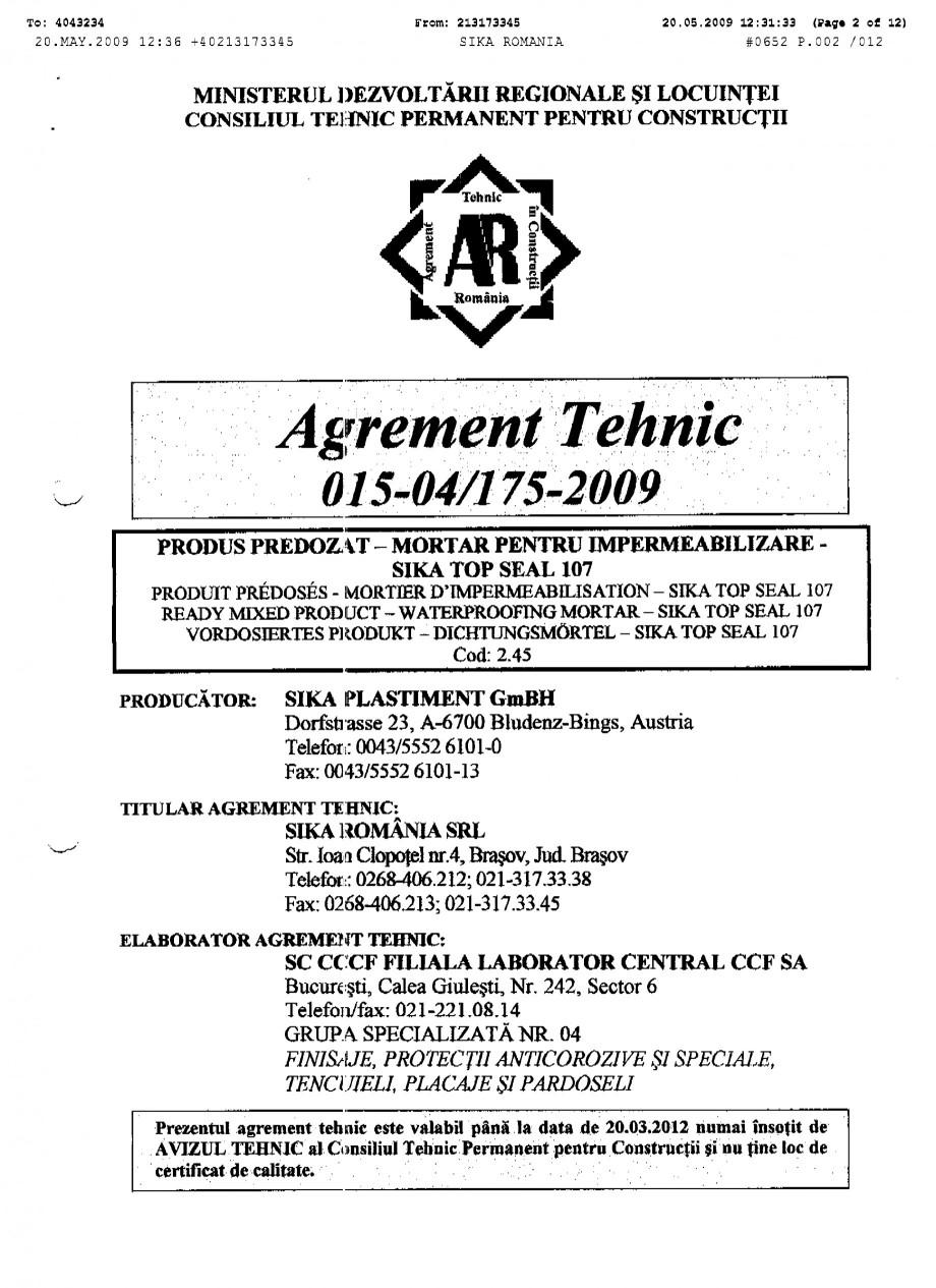 Pagina 2 - Agrement tehnic SIKA SikaTop®Seal-107 Certificare produs Romana