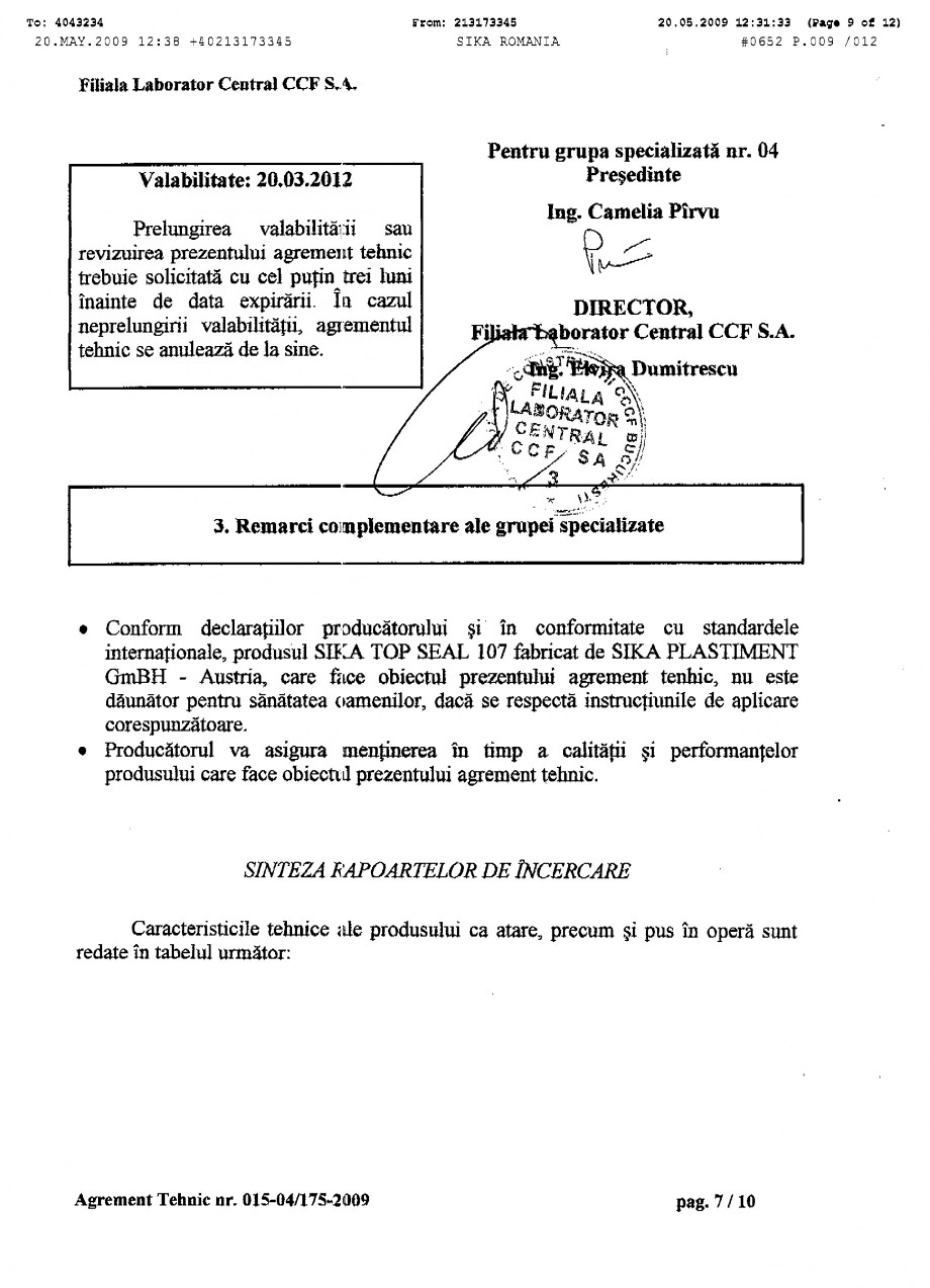 Pagina 9 - Agrement tehnic SIKA SikaTop®Seal-107 Certificare produs Romana
