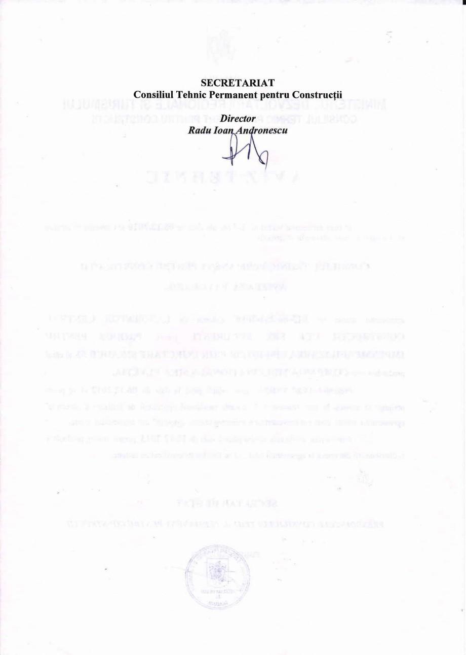 Pagina 2 - Agrement tehnic SIKA Sikadur®-52 Certificare produs Romana SECRETAR DE STAT,...