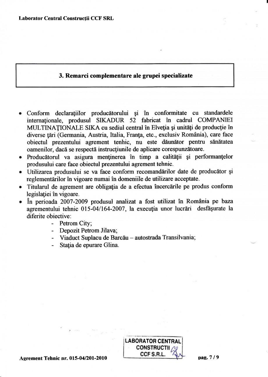 Pagina 10 - Agrement tehnic SIKA Sikadur®-52 Certificare produs Romana abel Temperatura Tip...