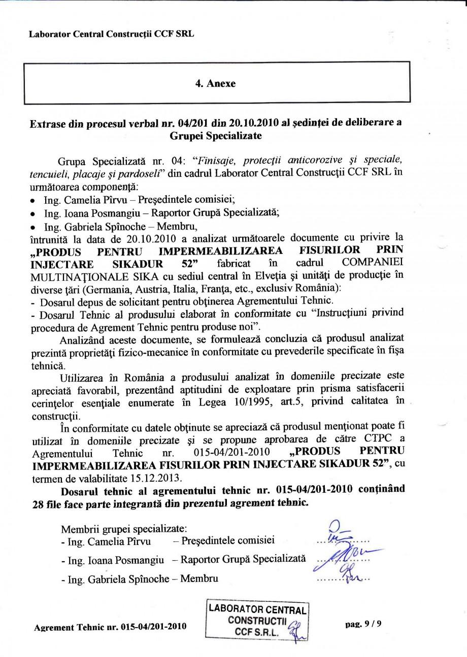 Pagina 12 - Agrement tehnic SIKA Sikadur®-52 Certificare produs Romana ucf,tor in Figa tehnicd...
