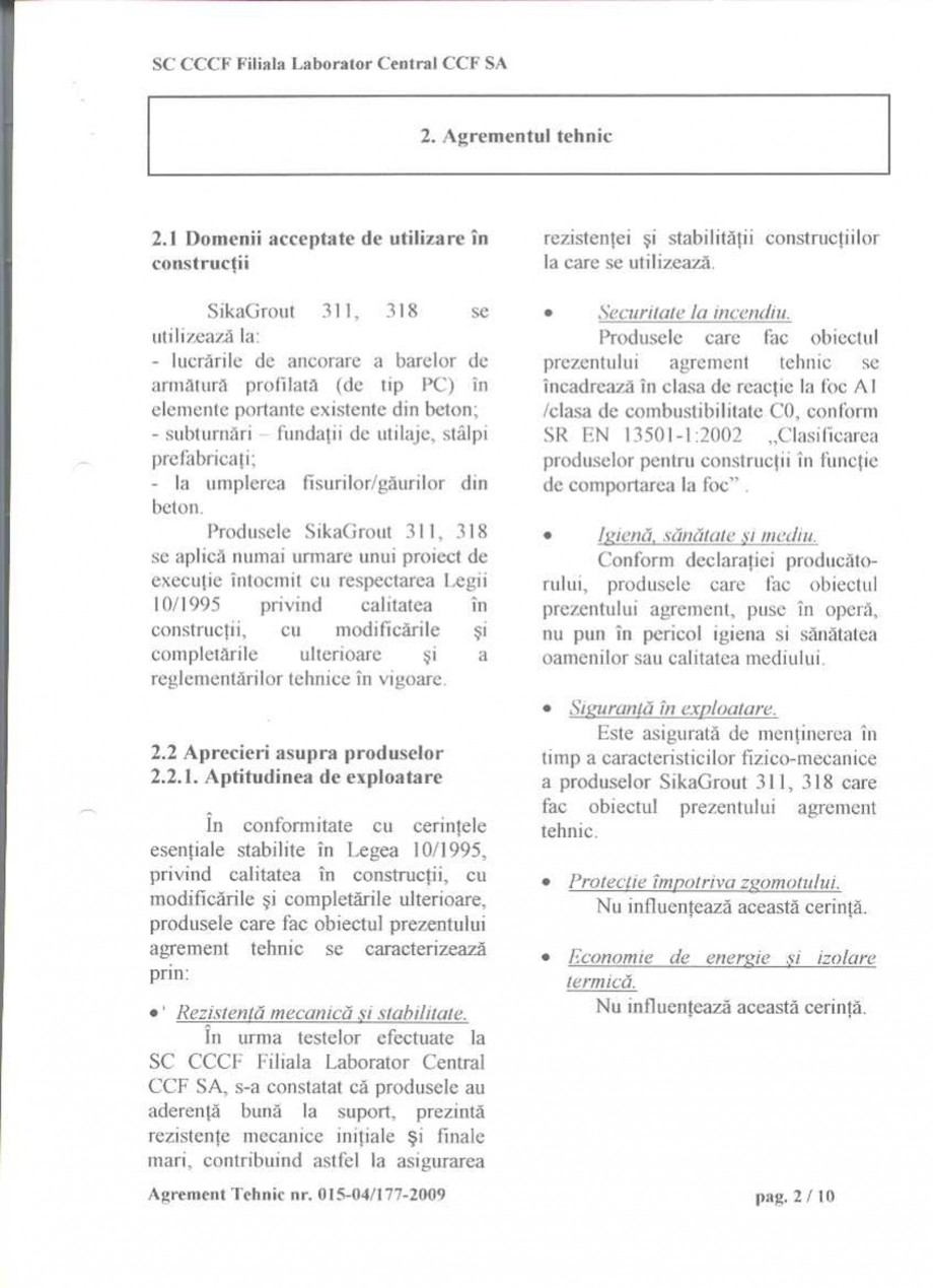 Pagina 4 - Agrement tehnic SIKA SikaGrout®-311, SikaGrout®-318 Certificare produs Romana