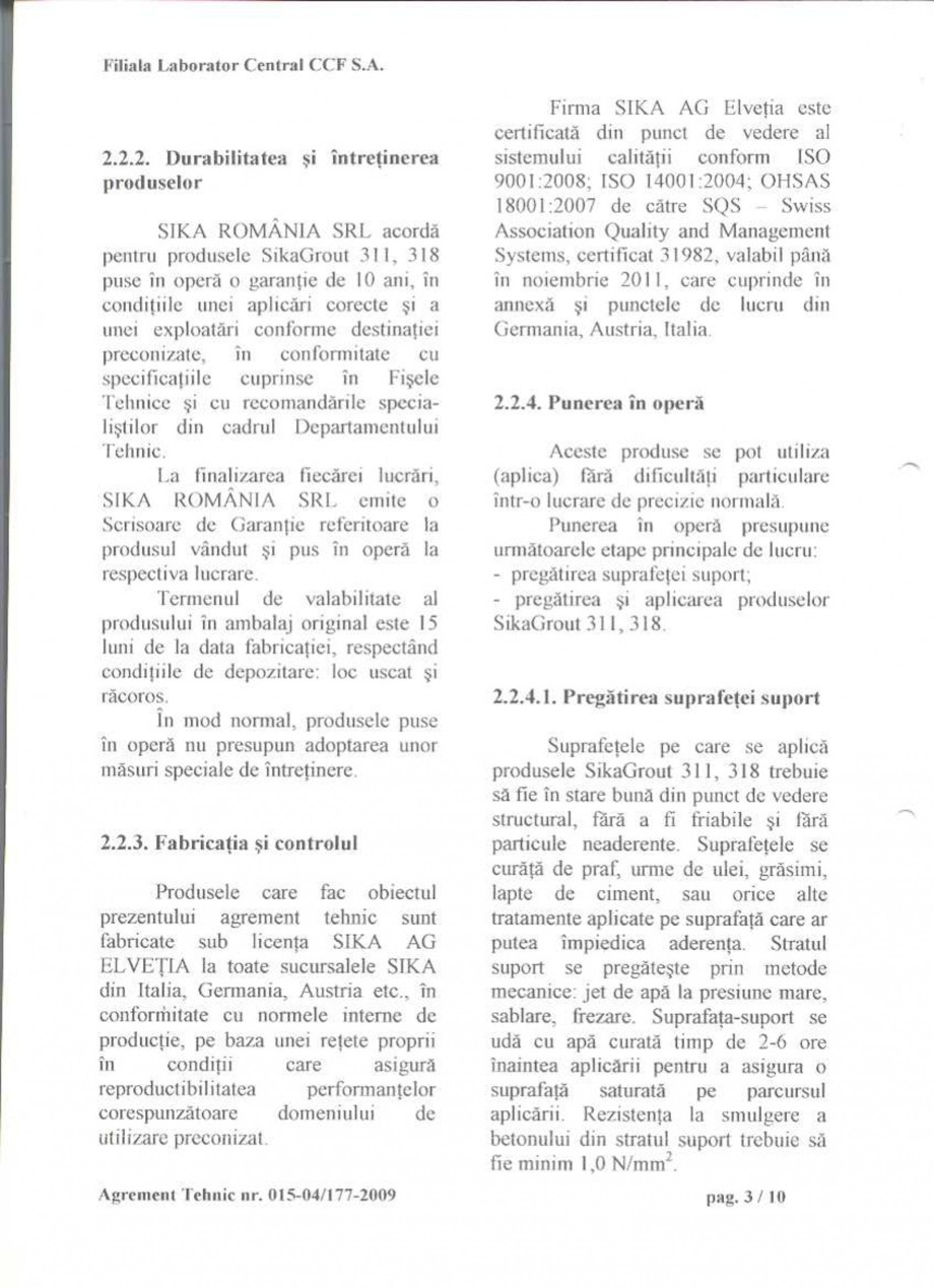 Pagina 5 - Agrement tehnic SIKA SikaGrout®-311, SikaGrout®-318 Certificare produs Romana