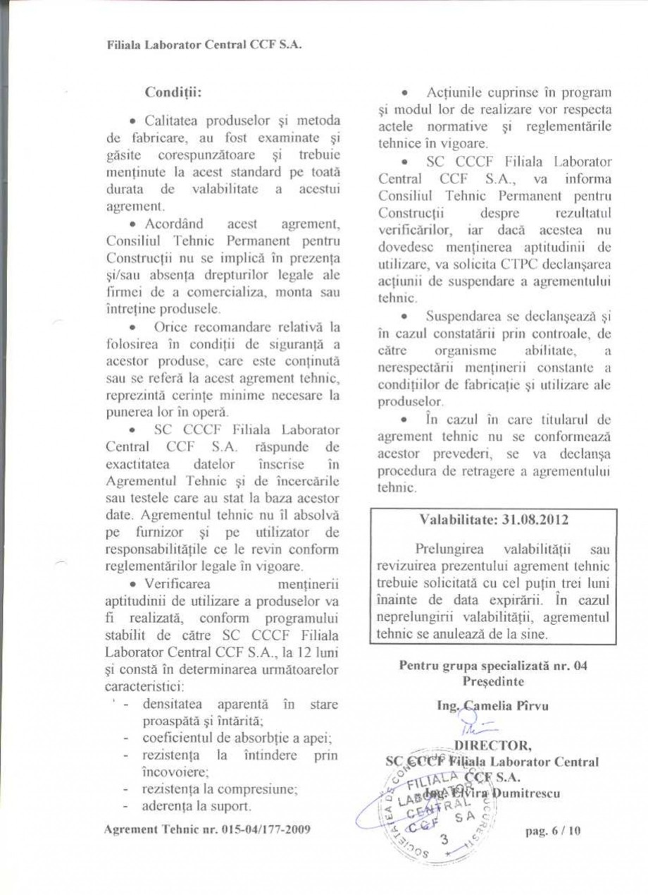 Pagina 8 - Agrement tehnic SIKA SikaGrout®-311, SikaGrout®-318 Certificare produs Romana