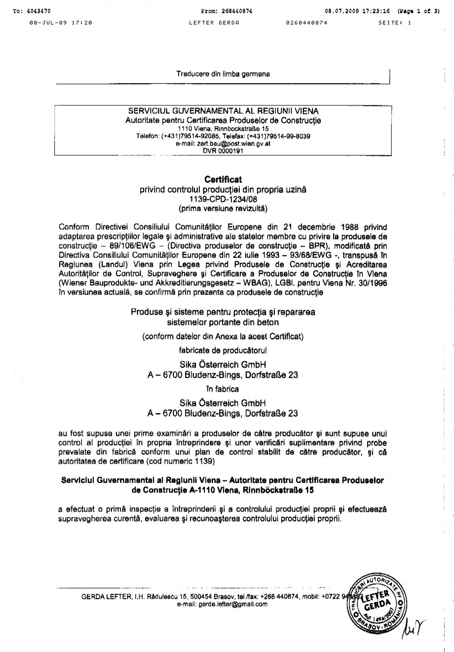 Pagina 1 - Certificat de productie SIKA Sika®MonoTop®-612 Certificare produs Romana
