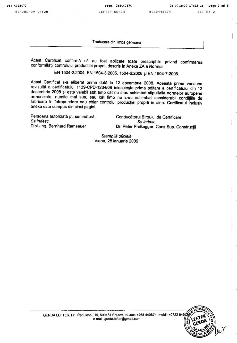 Pagina 2 - Certificat de productie SIKA Sika®MonoTop®-612 Certificare produs Romana