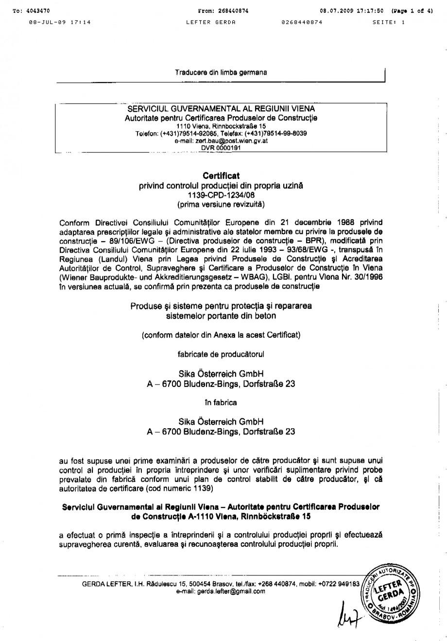 Pagina 1 - Certificat de productie SIKA Sika® MonoTop®-614 Certificare produs Romana