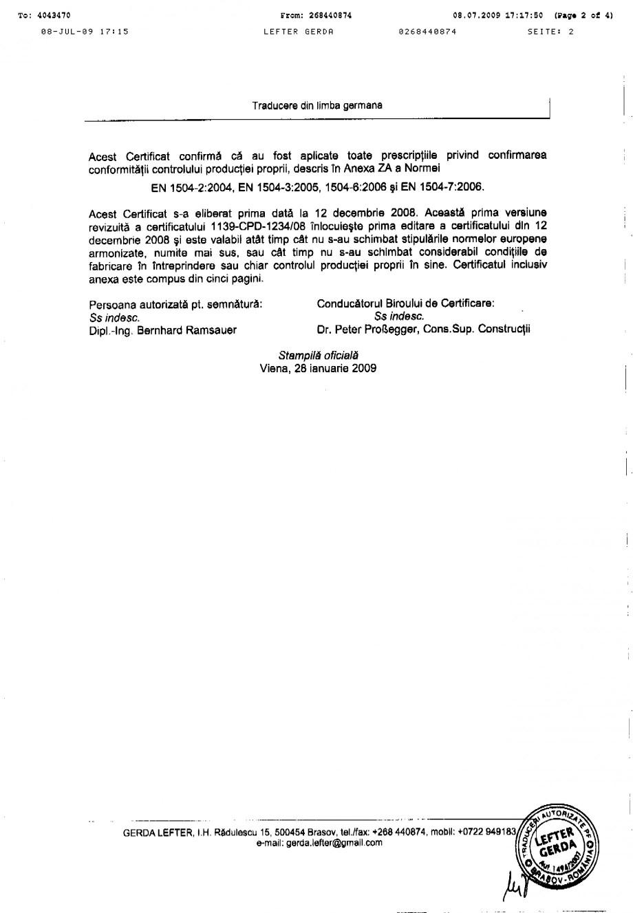 Pagina 2 - Certificat de productie SIKA Sika® MonoTop®-614 Certificare produs Romana