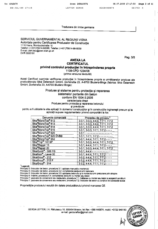 Pagina 3 - Certificat de productie SIKA Sika® MonoTop®-614 Certificare produs Romana