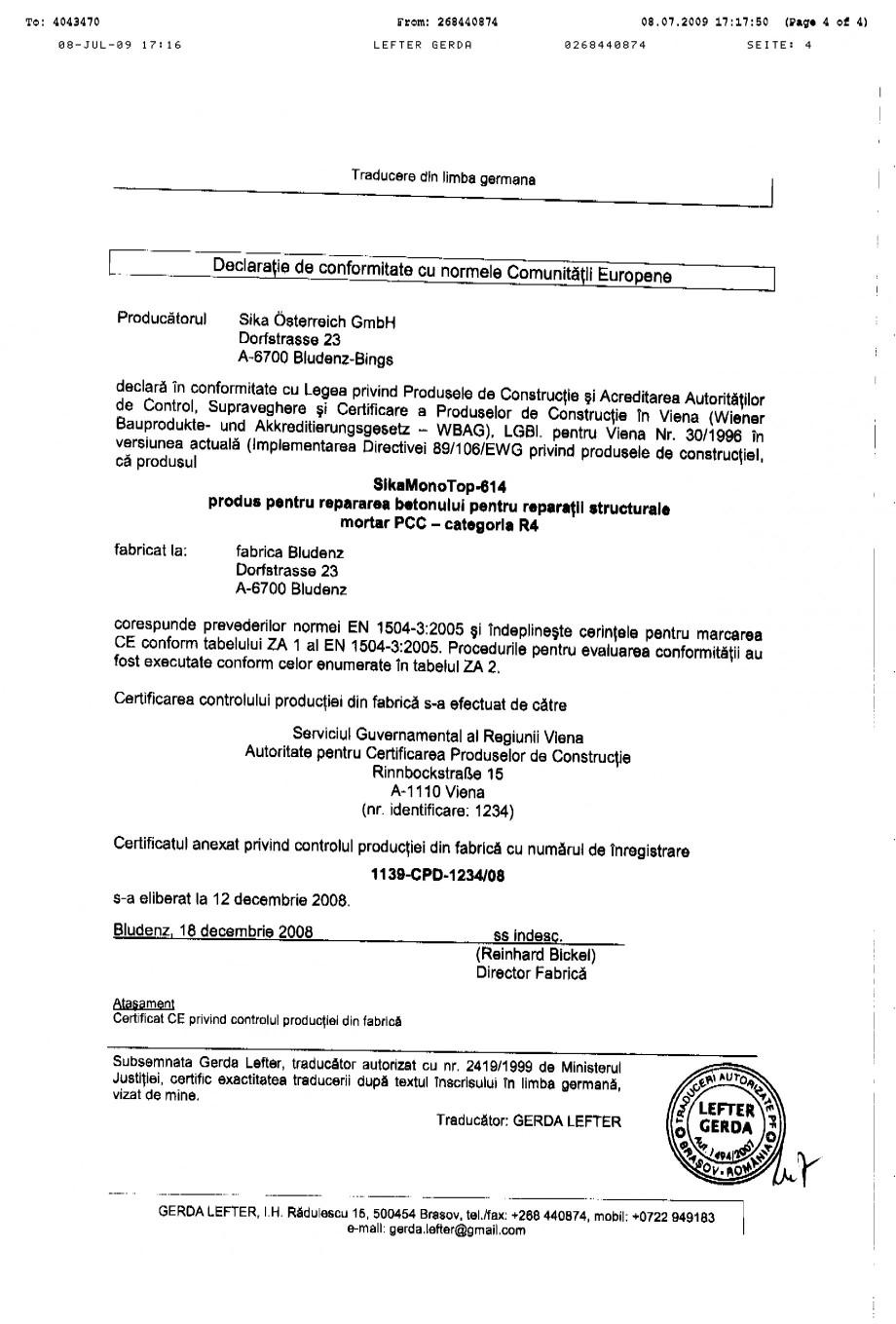 Pagina 4 - Certificat de productie SIKA Sika® MonoTop®-614 Certificare produs Romana