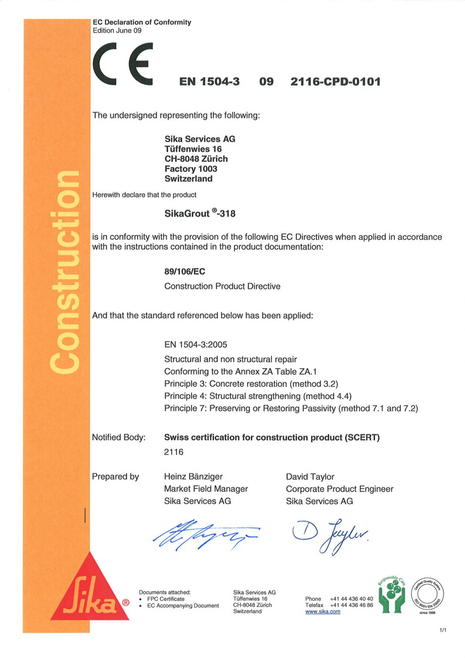 Pagina 1 - Declaratie de conformitate SIKA SikaGrout®-318 Certificare produs Engleza