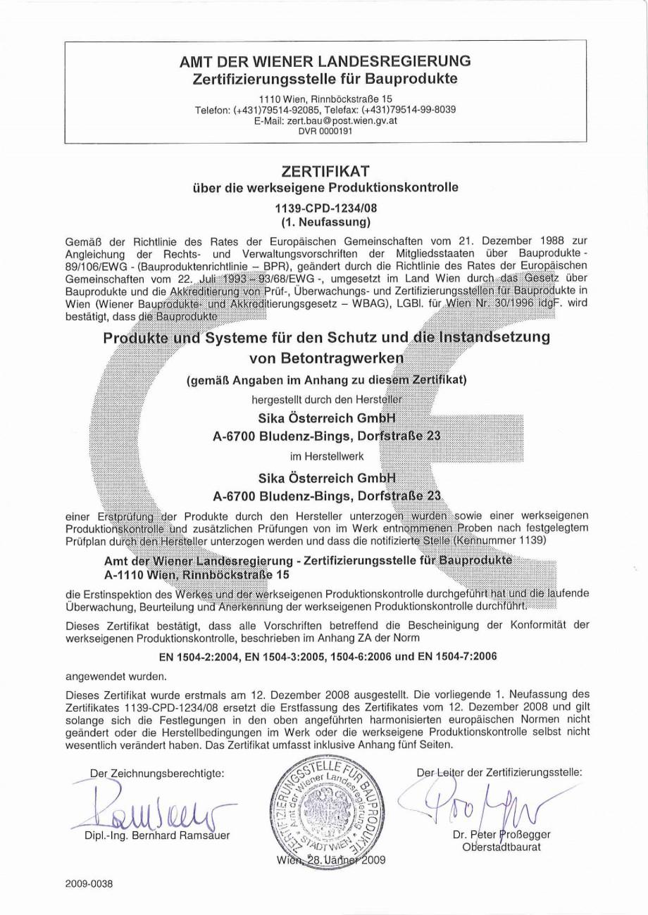 Pagina 1 - Declaratie de conformitate SIKA Sika® MonoTop®-910N Certificare produs Germana...