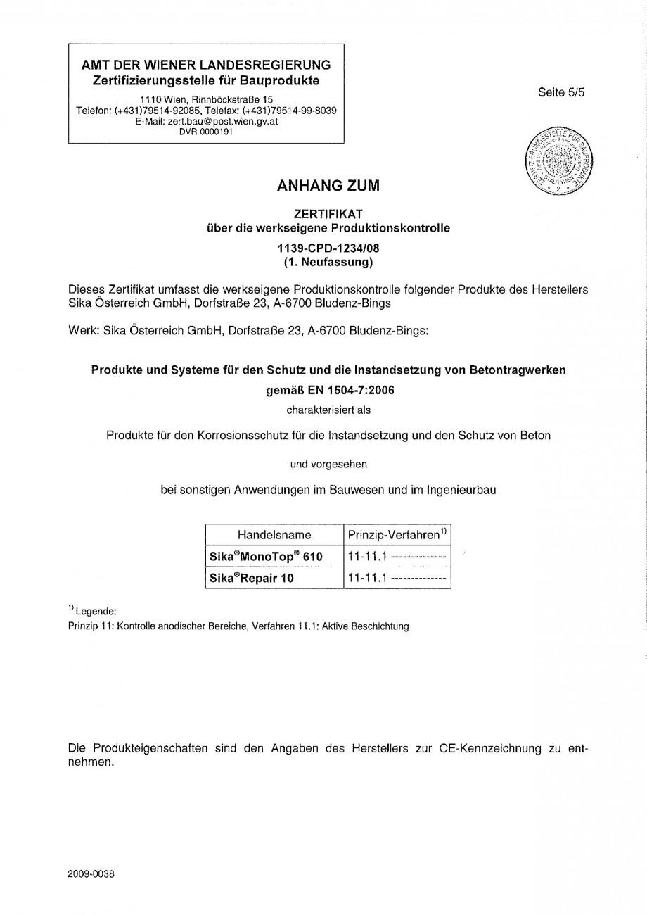 Pagina 2 - Declaratie de conformitate SIKA Sika® MonoTop®-910N Certificare produs Germana