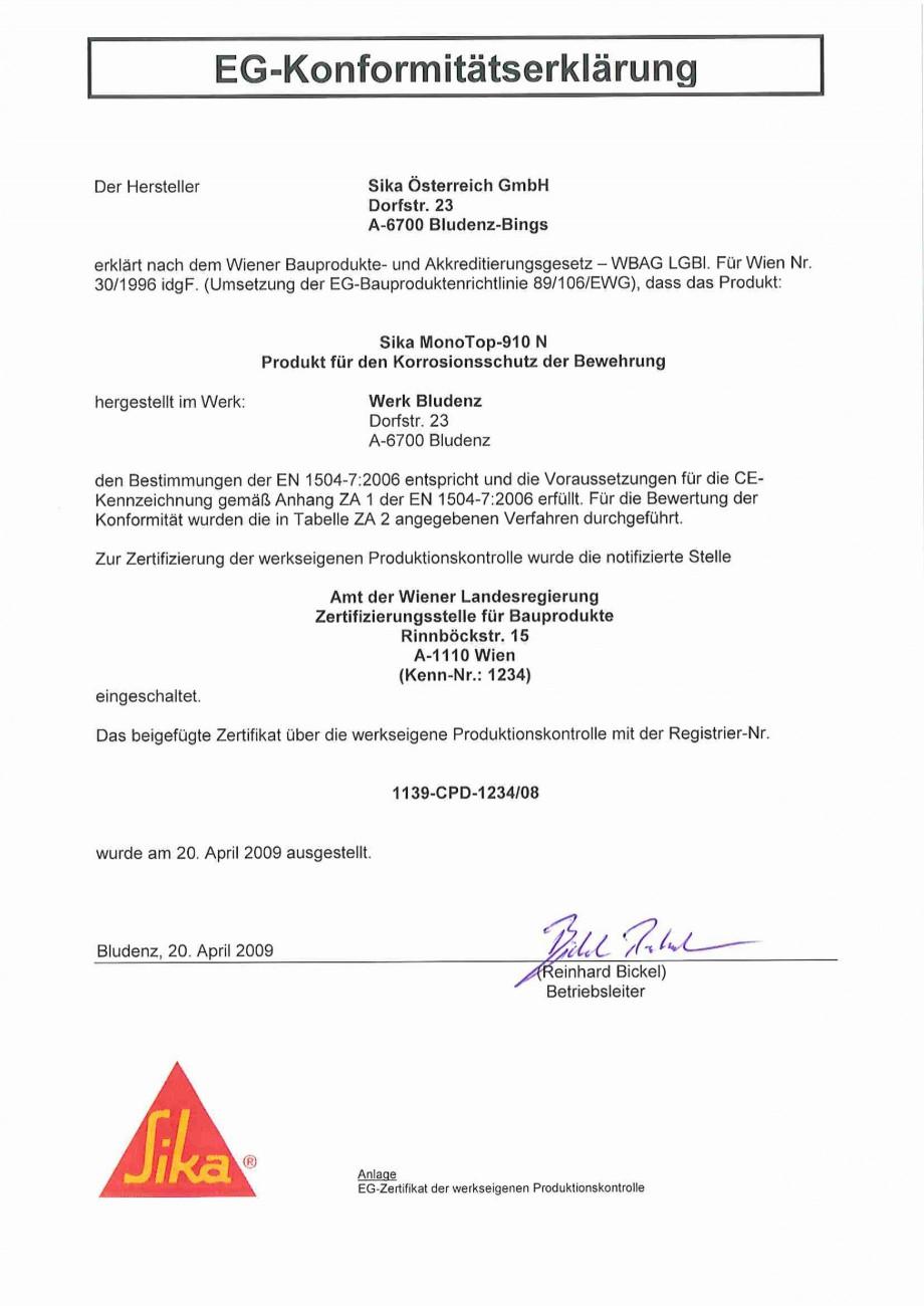 Pagina 3 - Declaratie de conformitate SIKA Sika® MonoTop®-910N Certificare produs Germana