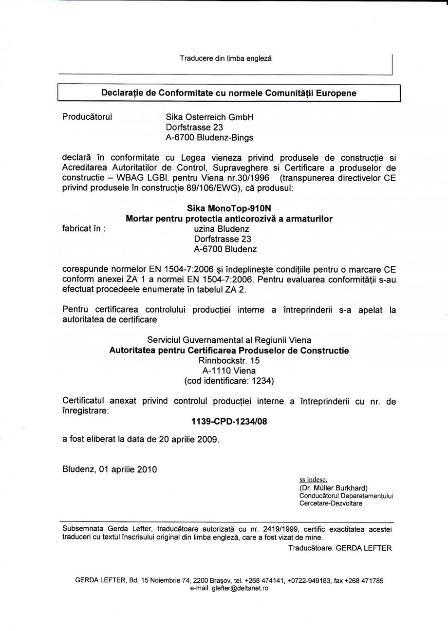 Pagina 1 - Declaratie de conformitate SIKA Sika® MonoTop®-910N Certificare produs Romana...