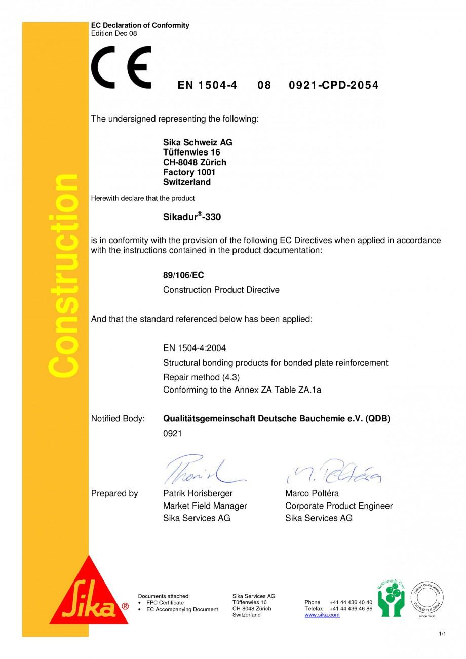 Pagina 1 - Declaratie de conformitate SIKA Sikadur®-330 Certificare produs Engleza EC...