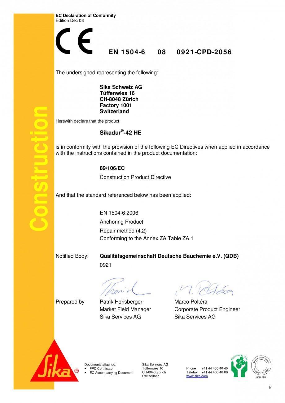 Pagina 2 - Declaratie de conformitate SIKA Sikadur®-42 Certificare produs Engleza, Germana ry...