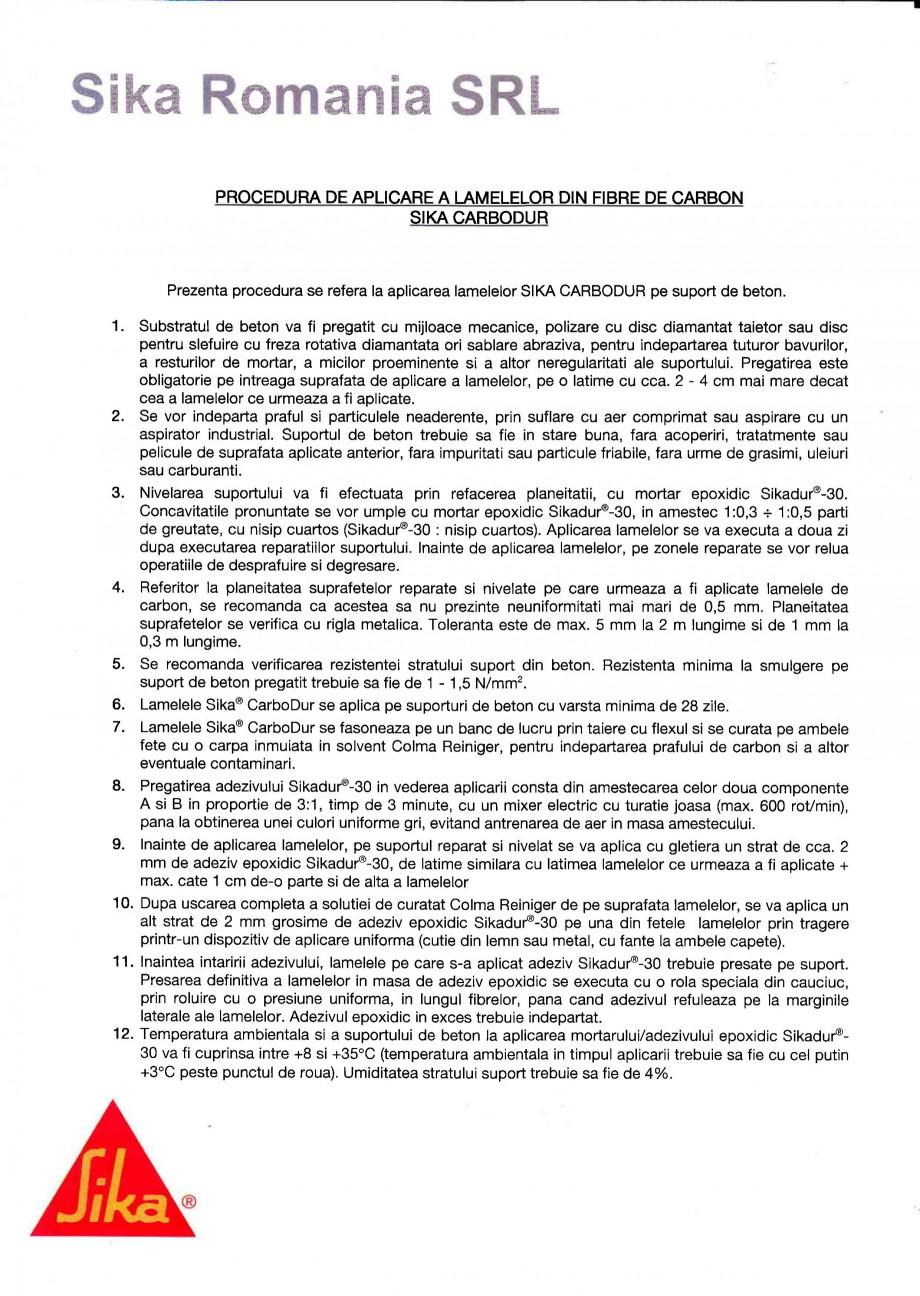 Pagina 1 - Procedura de aplicare a lamelelor pe beton SIKA Sika® CarboDur® Instructiuni...