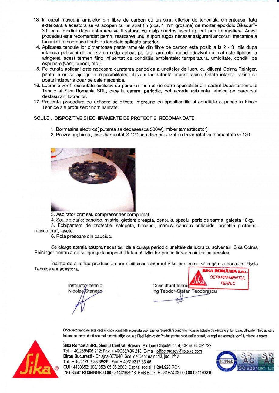 Pagina 2 - Procedura de aplicare a lamelelor pe beton SIKA Sika® CarboDur® Instructiuni...