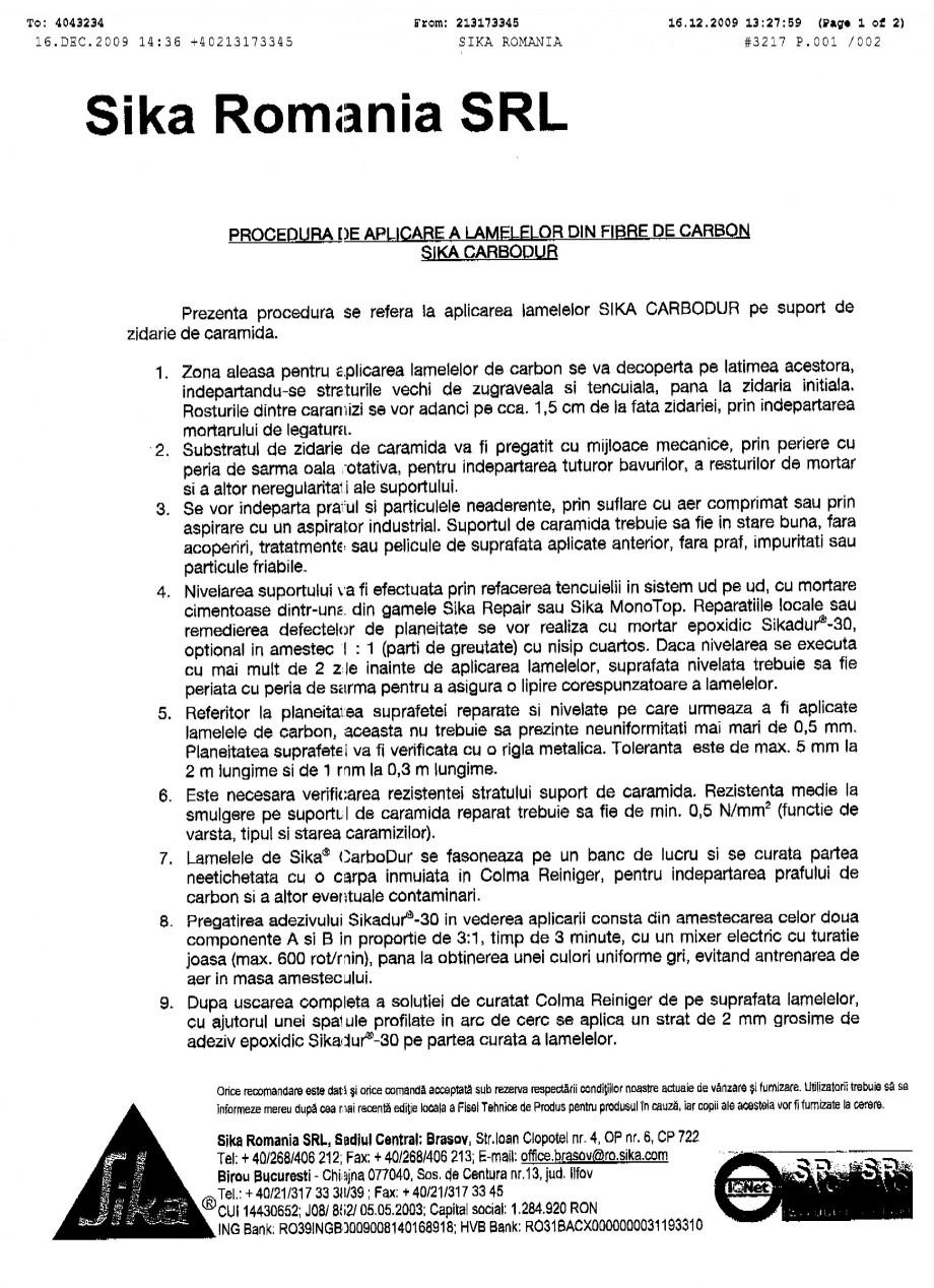 Pagina 1 - Procedura de aplicare a lamelelor pe zidarie de caramida SIKA Sika® CarboDur®...
