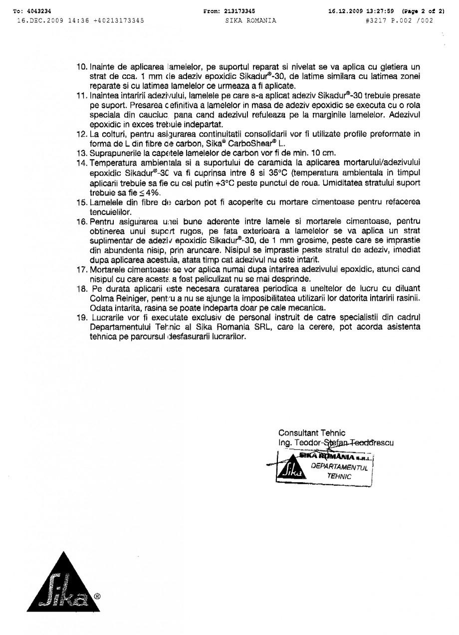 Pagina 2 - Procedura de aplicare a lamelelor pe zidarie de caramida SIKA Sika® CarboDur®...