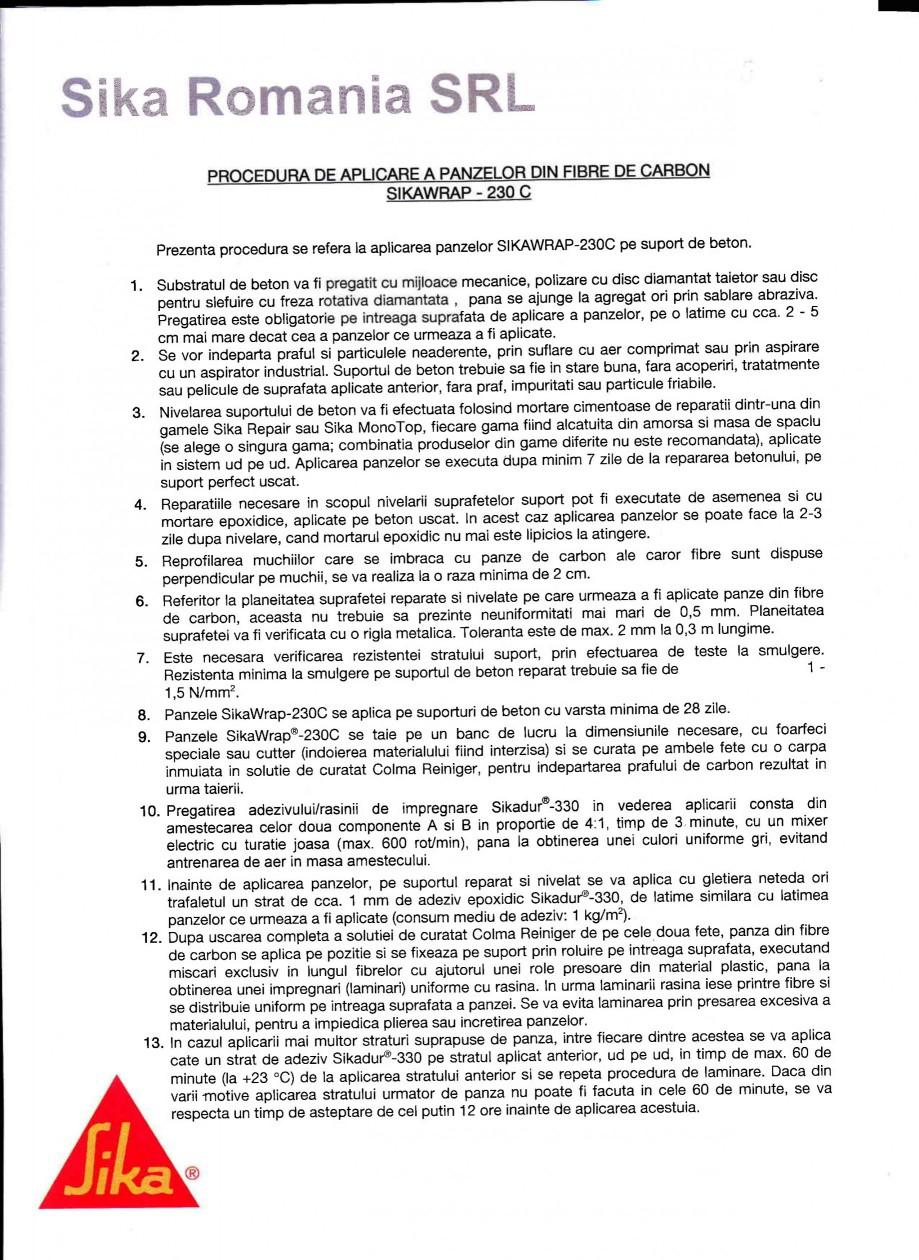 Pagina 1 - Procedura de aplicare a panzelor pe beton SIKA SikaWrap®-230C Instructiuni montaj,...