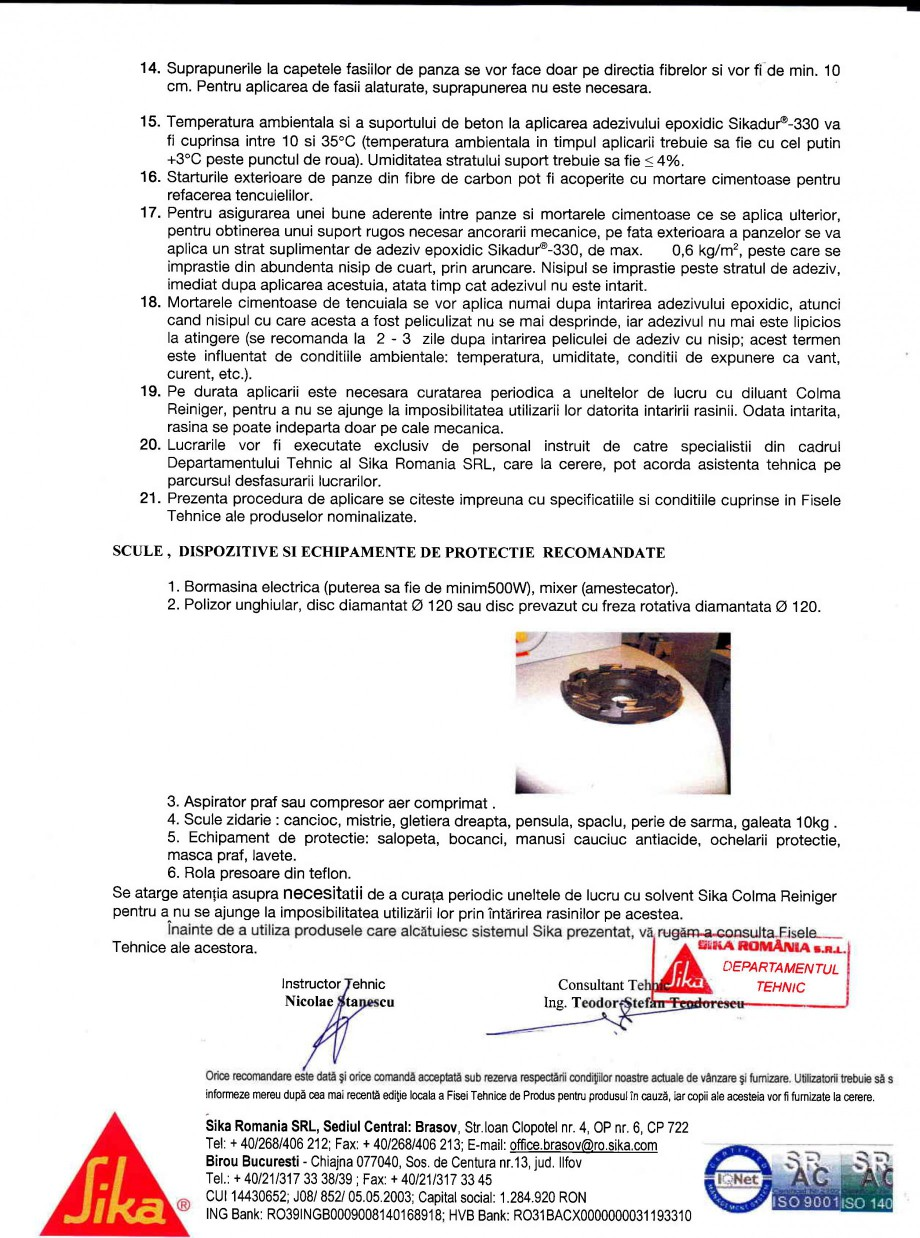 Pagina 2 - Procedura de aplicare a panzelor pe beton SIKA SikaWrap®-230C Instructiuni montaj,...