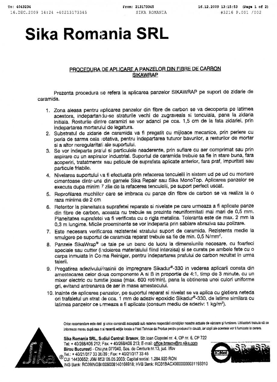 Pagina 1 - Procedura de aplicare a panzelor pe zidarie de caramida SIKA SikaWrap®-230C...