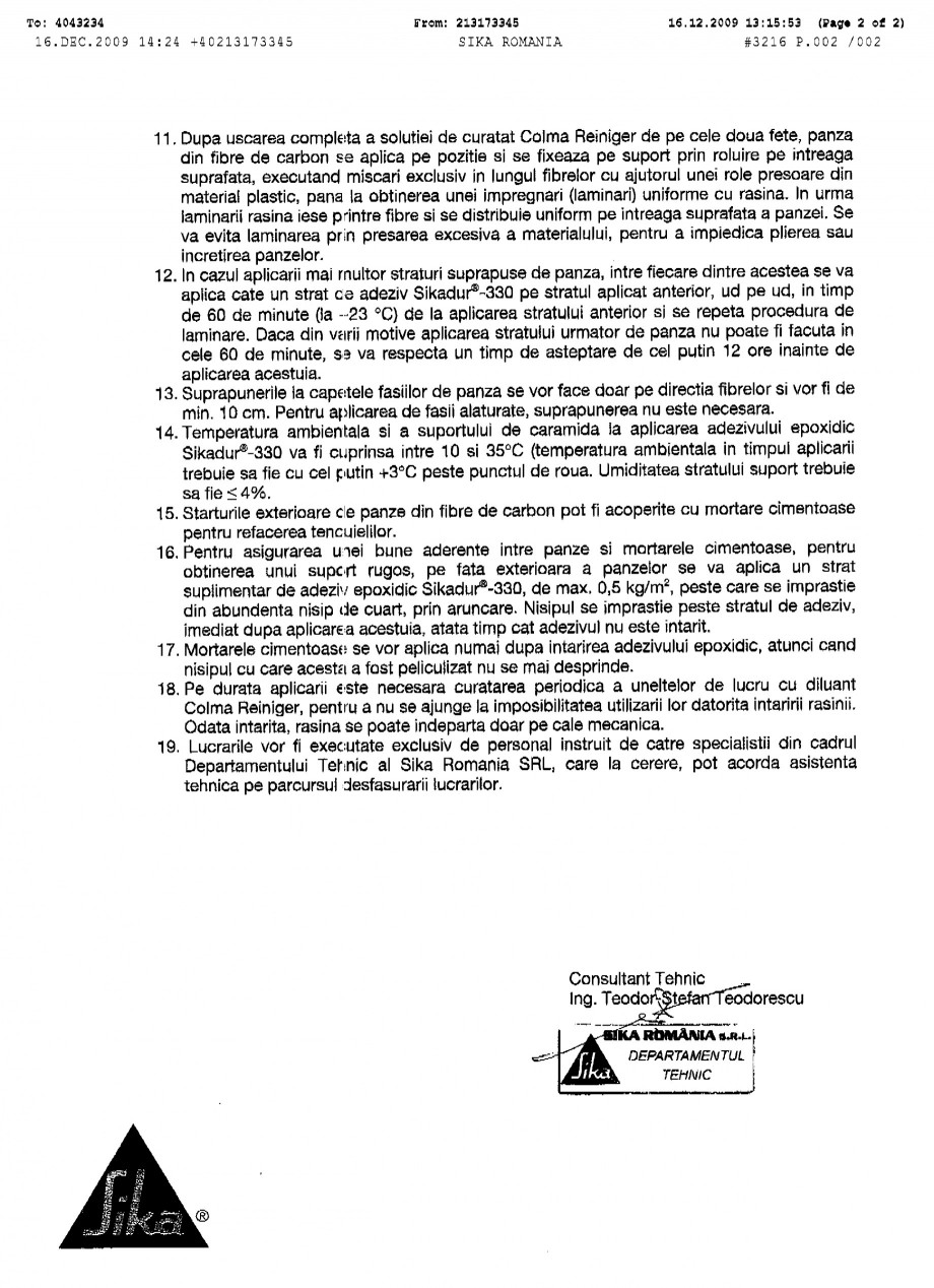 Pagina 2 - Procedura de aplicare a panzelor pe zidarie de caramida SIKA SikaWrap®-230C...