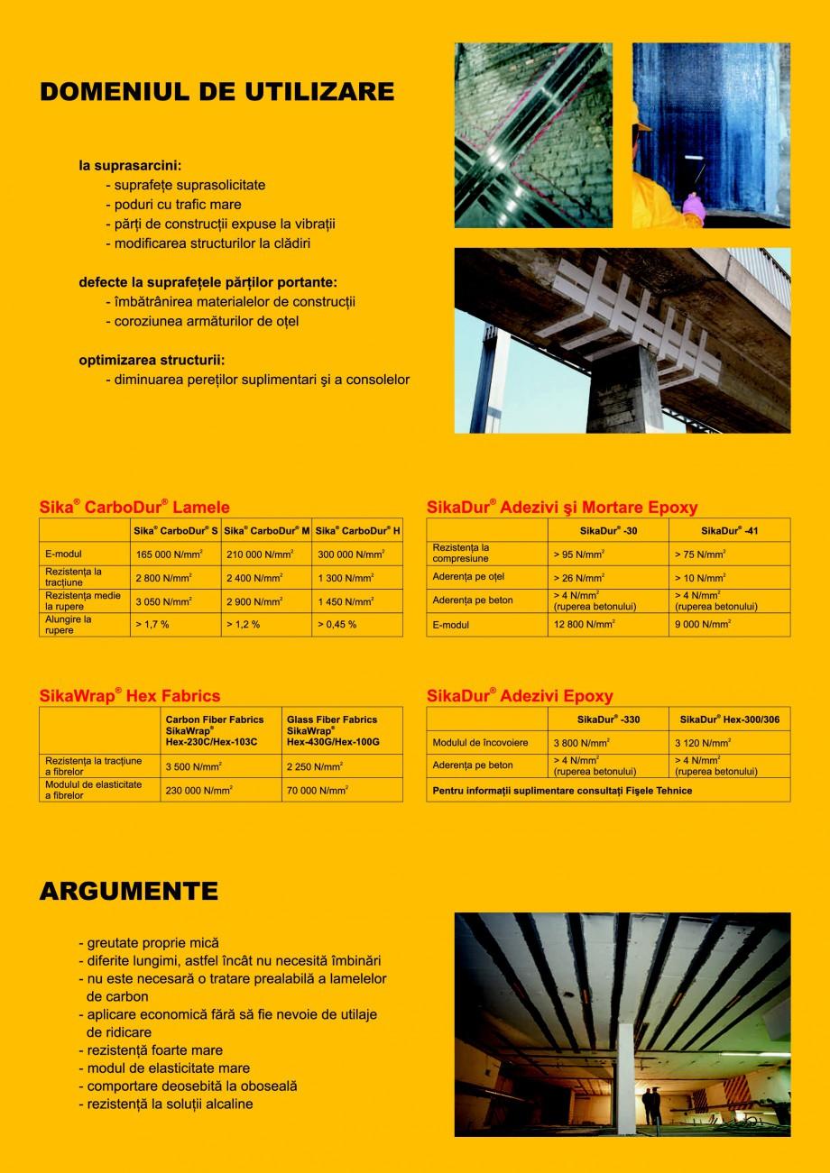 Pagina 2 - Sisteme pentru consolidarea structurilor cu lamele si tesaturi din fibra de carbon SIKA...
