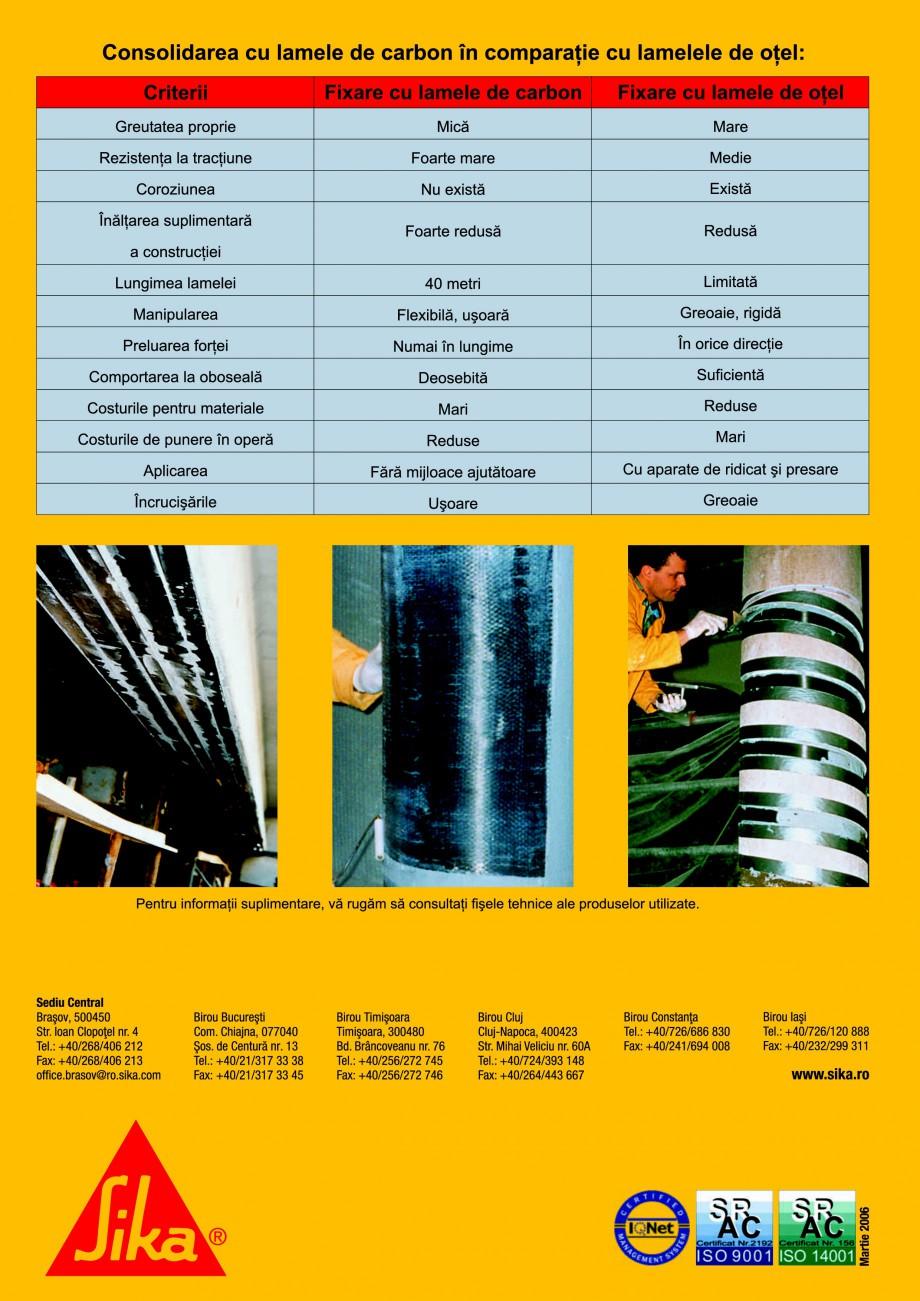 Pagina 4 - Sisteme pentru consolidarea structurilor cu lamele si tesaturi din fibra de carbon SIKA...