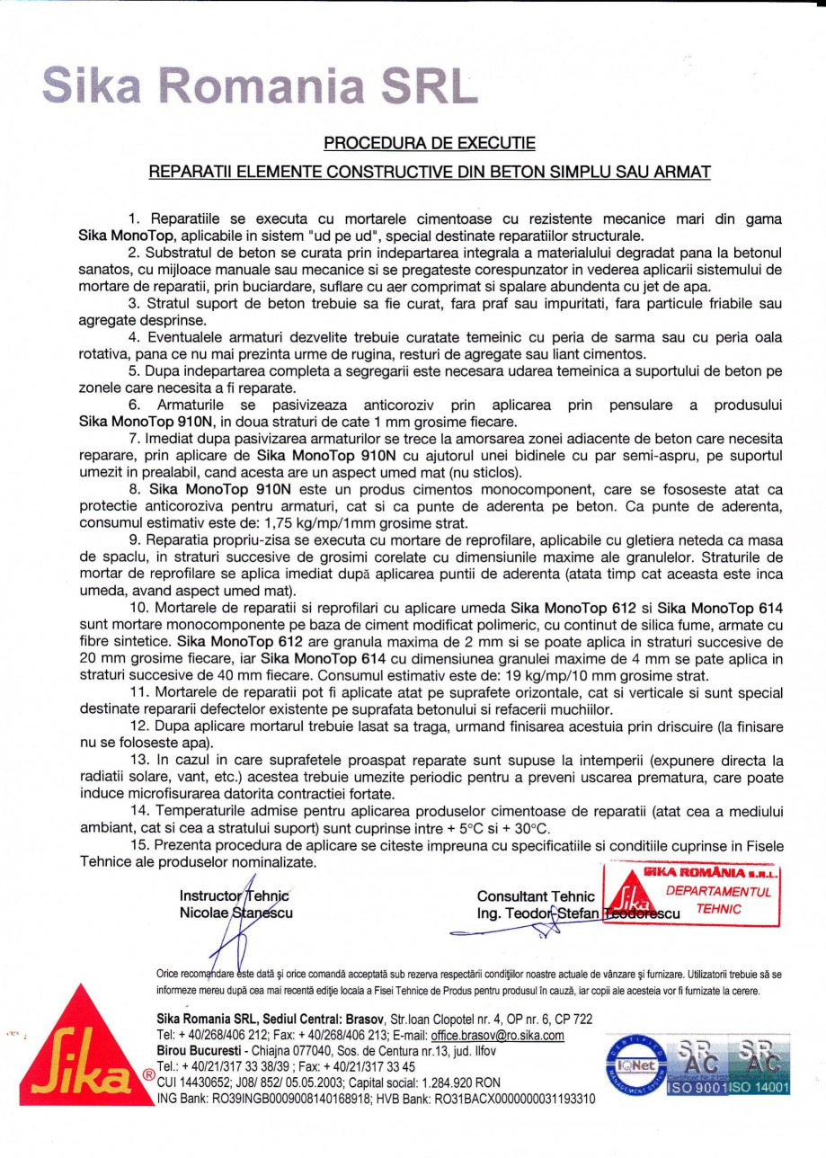 Pagina 1 - Reparatii elemente constructive din beton simplu sau armat SIKA Sika® MonoTop®...