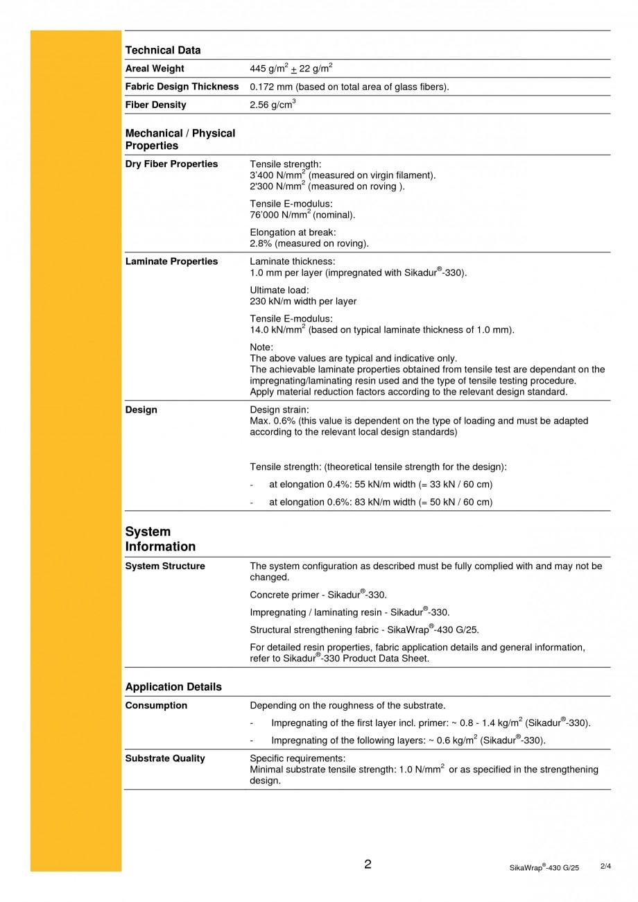 Pagina 2 -  Tesatura din fibra de sticla pentru consolidare SIKA SikaWrap®-430 G/25 Fisa tehnica...