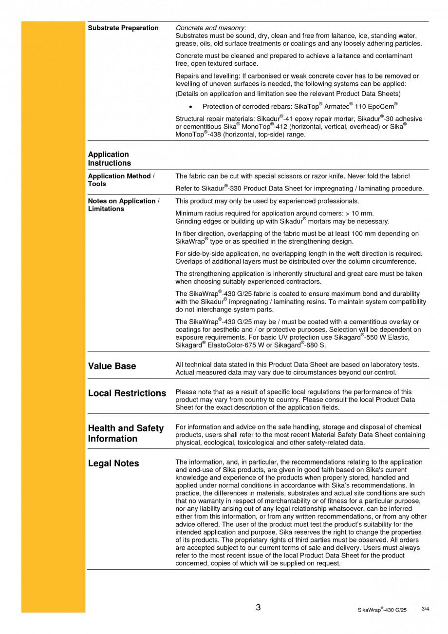 Pagina 3 -  Tesatura din fibra de sticla pentru consolidare SIKA SikaWrap®-430 G/25 Fisa tehnica...