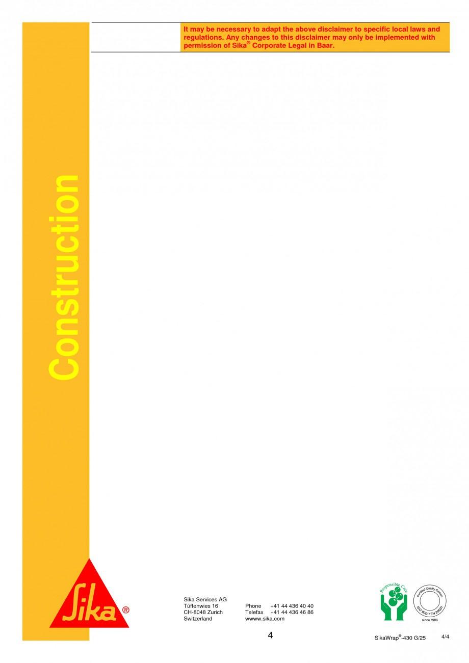 Pagina 4 -  Tesatura din fibra de sticla pentru consolidare SIKA SikaWrap®-430 G/25 Fisa tehnica...