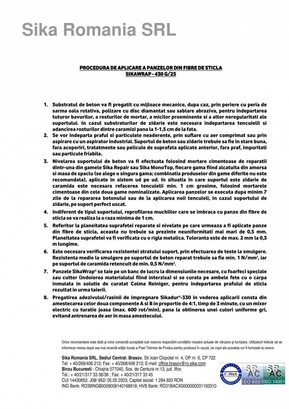 Pagina 1 - Procedura aplicare a panzelor din fibra de sticla SIKA SikaWrap®-430 G/25...