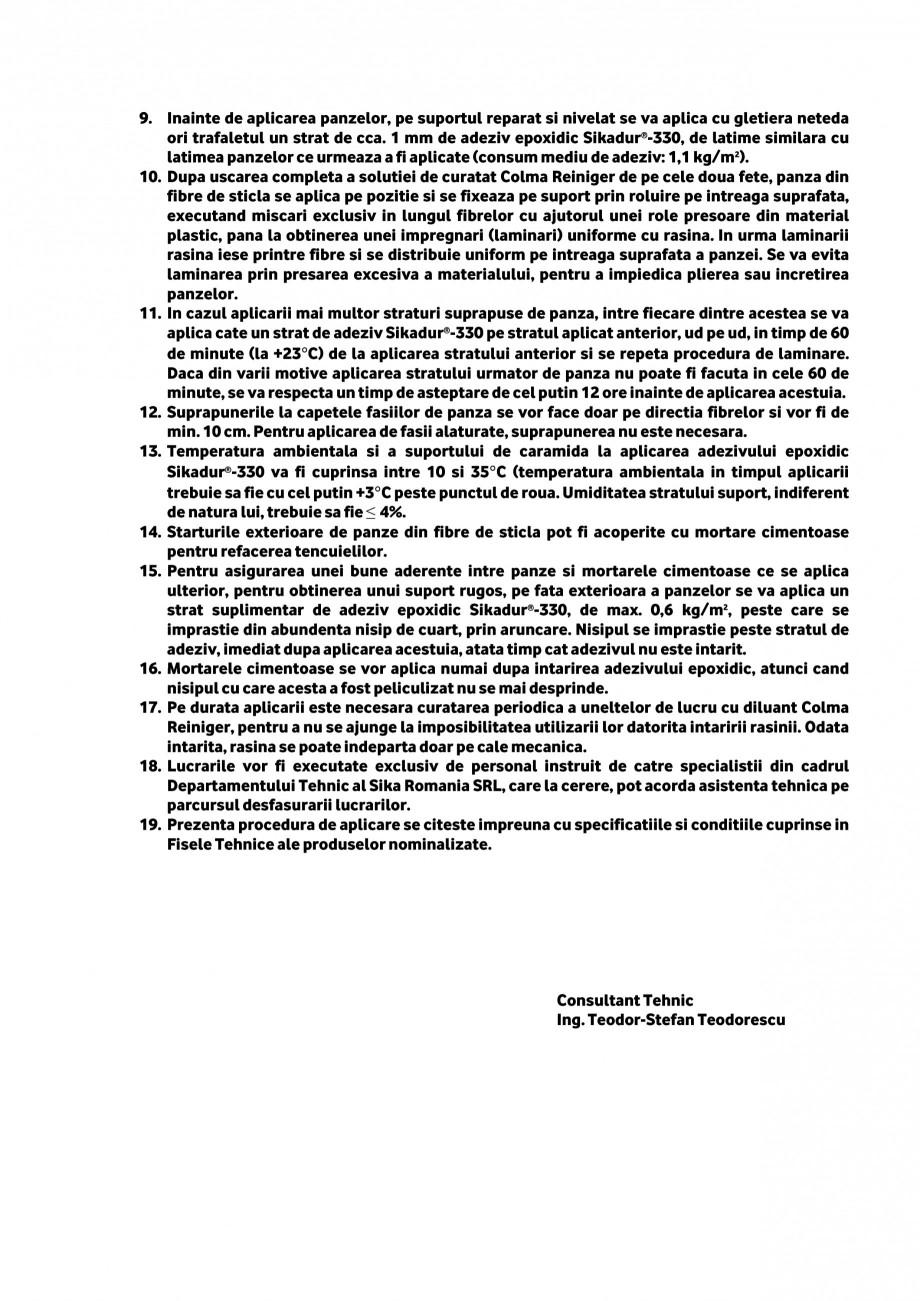 Pagina 2 - Procedura aplicare a panzelor din fibra de sticla SIKA SikaWrap®-430 G/25...