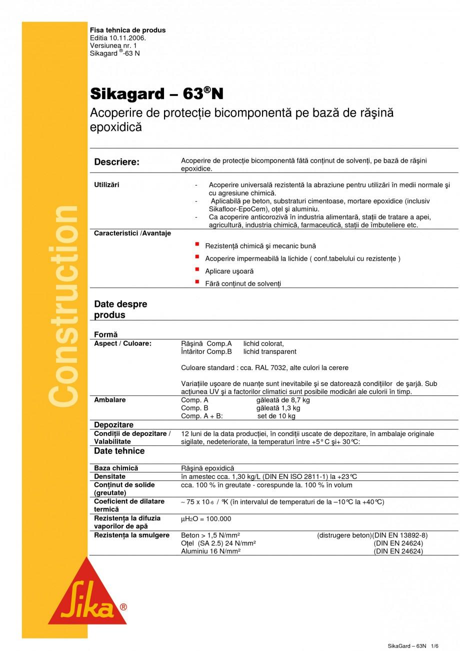 Pagina 1 - Acoperire de protectie bicomponenta pe baza de rasina epoxidica SIKA Sikagard - 63®N ...