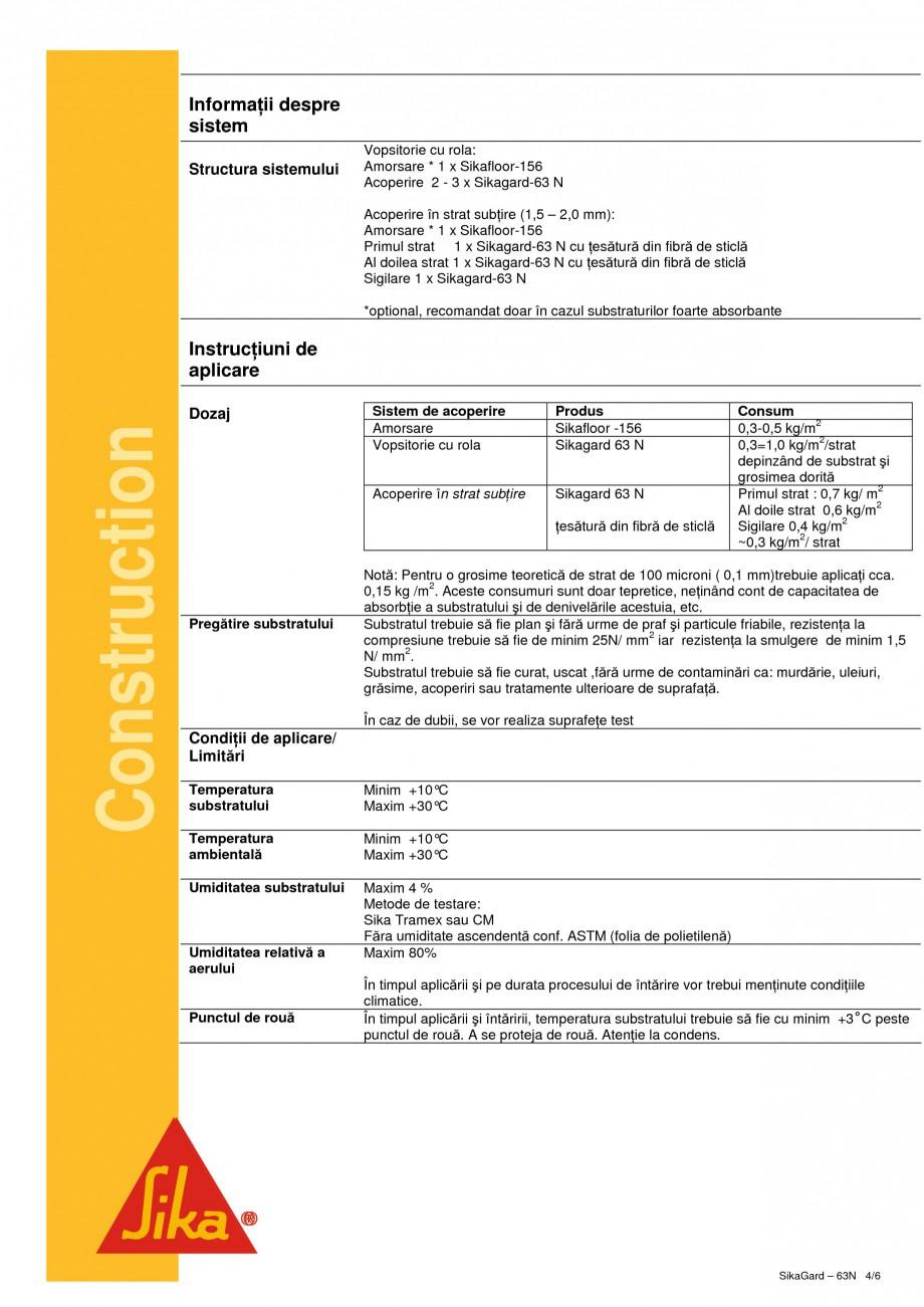 Pagina 4 - Acoperire de protectie bicomponenta pe baza de rasina epoxidica SIKA Sikagard - 63®N ...