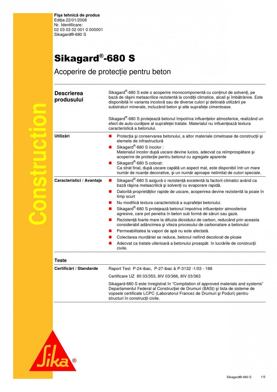 Pagina 1 - Acoperire de protectie pentru beton SIKA Sikagard®-680 S Fisa tehnica Romana Fişa...