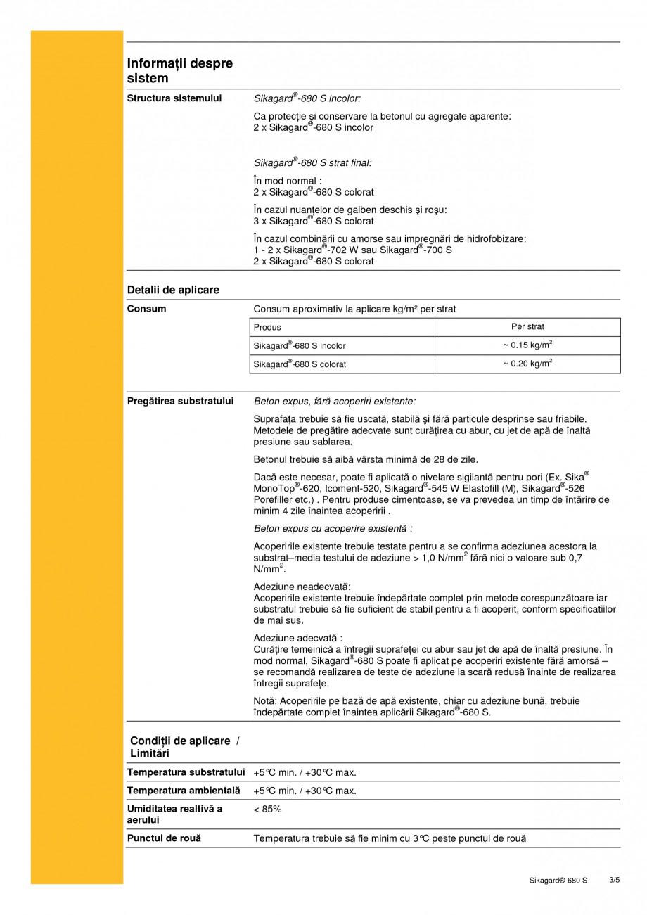 Pagina 3 - Acoperire de protectie pentru beton SIKA Sikagard®-680 S Fisa tehnica Romana le de...