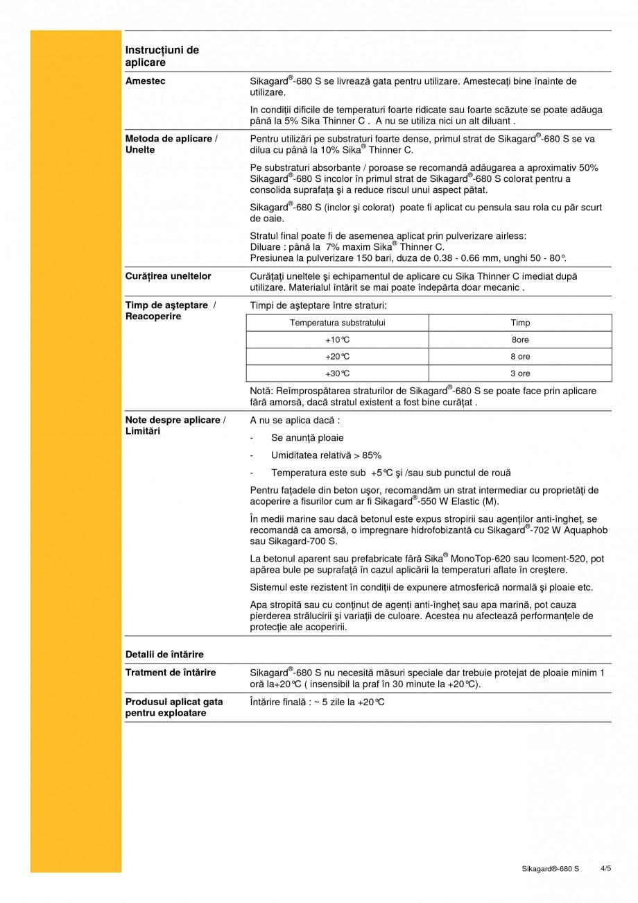 Pagina 4 - Acoperire de protectie pentru beton SIKA Sikagard®-680 S Fisa tehnica Romana sitate...