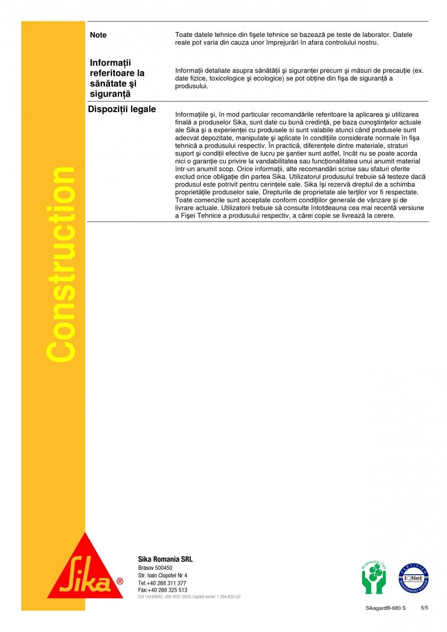 Pagina 5 - Acoperire de protectie pentru beton SIKA Sikagard®-680 S Fisa tehnica Romana ru a...