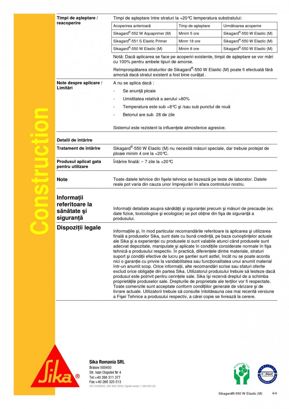 Pagina 4 - Acoperire de protectie pentru beton cu proprietati de acoperire a fisurilor SIKA...