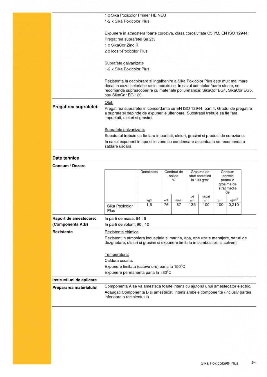 Pagina 2 - Acoperire epoxidica cu continut scazut de solvent SIKA Sika Poxicolor® Plus Fisa...