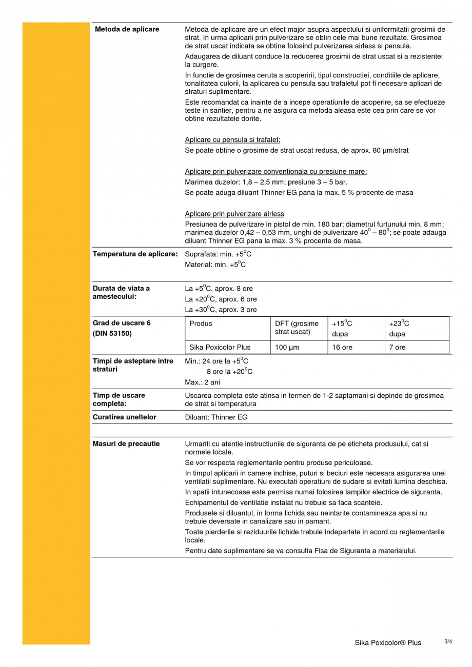 Pagina 3 - Acoperire epoxidica cu continut scazut de solvent SIKA Sika Poxicolor® Plus Fisa...